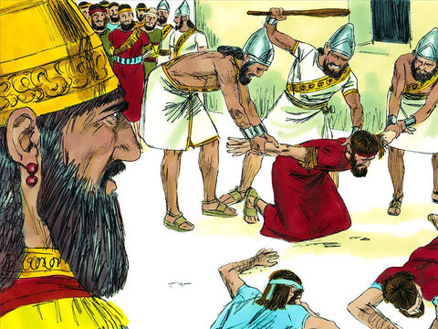 The Babylonian generals took all the most important priests and officials, all of whom had been responsible for leading the people to disobey God, and took them to King Nebuchadnezzar's camp. Here they were beaten and put to death. – Slide 12