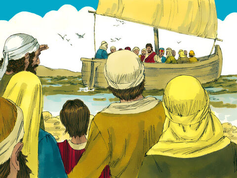 The disciples had just returned from going around villages preaching and healing the sick. They had also heard the news that John the Baptist had been executed by Herod Antipas. Jesus and His disciples got in a boat a sailed to a remote place. – Slide 1