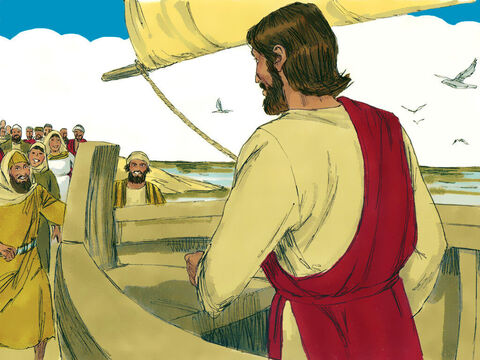 A large crowd, many of them pilgrims on their way to the Passover feast in Jerusalem, watched the boat and followed it around the coast on foot to meet Jesus. – Slide 2