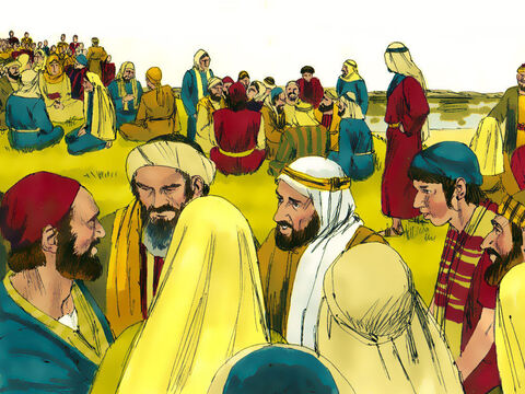 'Tell everyone to sit down in groups of around fifty,' Jesus ordered. – Slide 8