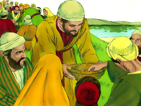 The disciples gave out the bread and fish and everyone ate until they were no longer hungry. – Slide 10