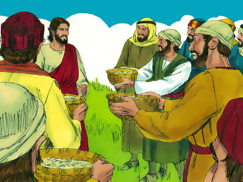 The disciples picked up twelve basketfuls of broken pieces that were left over. – Slide 11