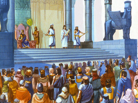 One day King Nebuchadnezzar summoned the rulers of the various provinces to gather together. He watched them assemble from his royal pavilion. This was a special occasion and no-one would dare not to come. – Slide 3