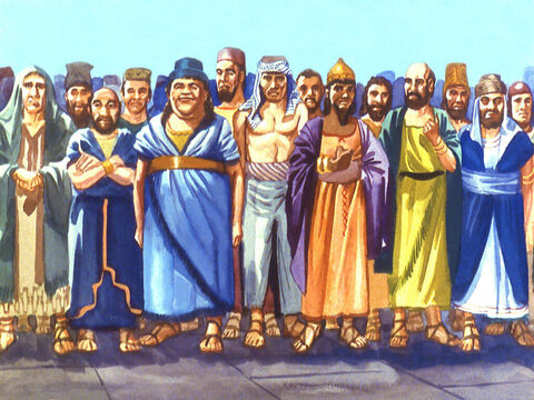 The captains, princes and governors all stood quietly waiting to hear the announcement from the King. – Slide 7