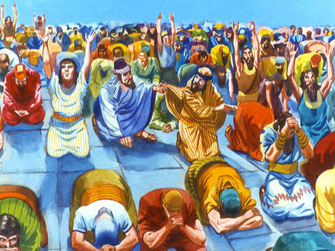 Two Chaldeans were worshipping close together when suddenly one of them saw something that made him tug at the other one's robe in an effort to get his attention. – Slide 13