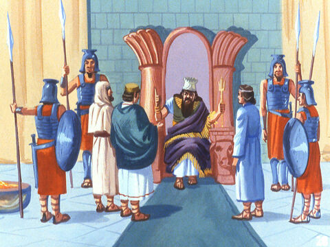 Shadrach, Meshach and Abednego were hurried to the royal pavilion. And when the king asked them if it was true they had not bowed down to the golden images they told him it was true. – Slide 23