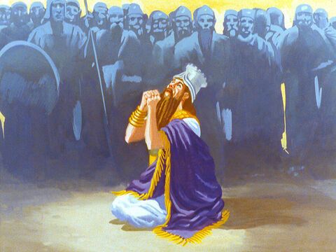 King Nebuchadnezzar fell to his knees and cried, 'Blessed be the God of Shadrach, Meshach and Abednego who has delivered his servants who trusted in Him.' – Slide 44