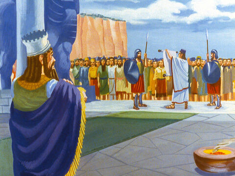 Shortly afterwards a new decree was read to all the nations under Nebuchadnezzar's rule. No one was to speak against the God of the three brave Jewish men. – Slide 45