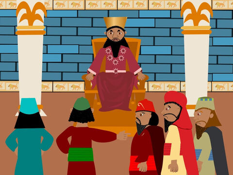The king was very angry with the three friends. He wanted to know if it was true what the men had told him. He gave them another chance to go back to the statue and bow before it. If they would not obey him he warned that they would be thrown into a terrible fire! – Slide 5