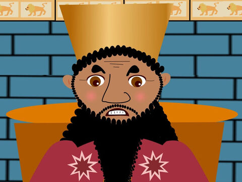 When the king heard their answer he was furious. He showed his teeth and went very red in the face. – Slide 7