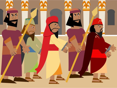 He ordered the fire to be made seven times hotter and he sent for his strongest soldiers to tie up the three friends with ropes and throw them into the fire! – Slide 8
