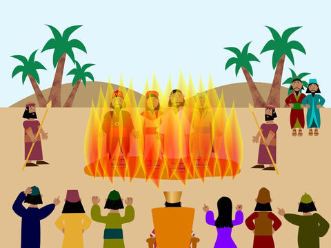 But something amazing happened when the men entered the fire. Their hands became free from the ropes and they walked around looking very peaceful. As the king watched them he saw another man in the fire. He looked like the Son of God. – Slide 9