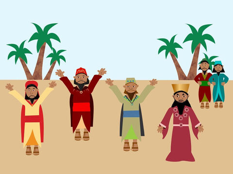 Then the king spoke to everyone and said, 'The God of Meshach, Shadrach and Abednego is to be praised. He has kept them safe because they trusted in Him. No one else can save like their God and anyone who speaks evil against Him will be punished. The three friends were very happy and praised God. – Slide 11