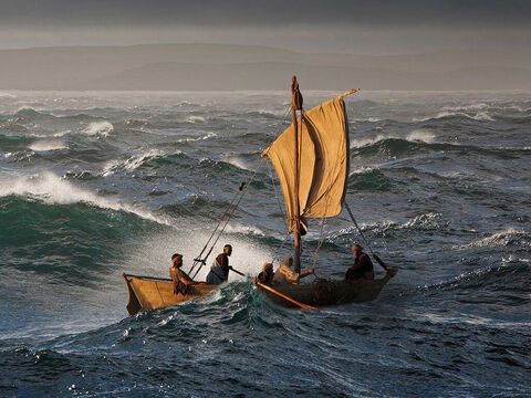 Jesus and His disciples were caught in such an unexpected violent storm when crossing to the other side of the Galilee. Even the experienced fishermen on board were afraid for their lives. <br/>Jesus commanded the storm to stop and it did, showing His power over the wind and waves. – Slide 7