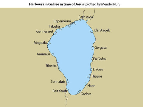 This map shows the harbours around Galilee in the time of Jesus. They were plotted by a fisherman, Mendel Nun, between 1989-1991 when there was a severe drought and the water levels fell. – Slide 8