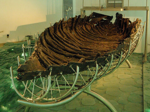 In 1978, when the waters receded in a drought, an ancient fishing boat dated from the time of Jesus was found on the north-west shore by two local fishermen, Moshe and Yuval Lufan. The boat has been dated to 40 BC (plus or minus 80 years) based on radio-carbon dating and 50 BC to AD 50 based on finds of pottery and nails in the boat. – Slide 10