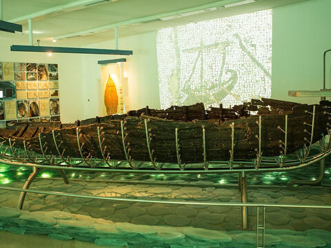 The remains are exhibited in the Yigal Allon museum in Kibbutz Ginosar. The boat was 27 feet (8.27 m) long, 7.5 feet (2.3 m) wide and with a maximum preserved height of 4.3 feet (1.3 m). – Slide 11