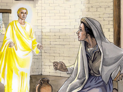The angel came to her and said, 'Greetings, favoured one, the Lord is with you!' But she was greatly troubled by his words and began to wonder about the meaning of this greeting. – Slide 3
