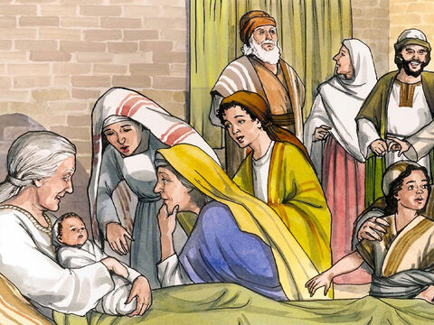 Now the time came for Elizabeth to have her baby, and she gave birth to a son. Her neighbours and relatives heard that the Lord had shown great mercy to her, and they rejoiced with her. – Slide 1