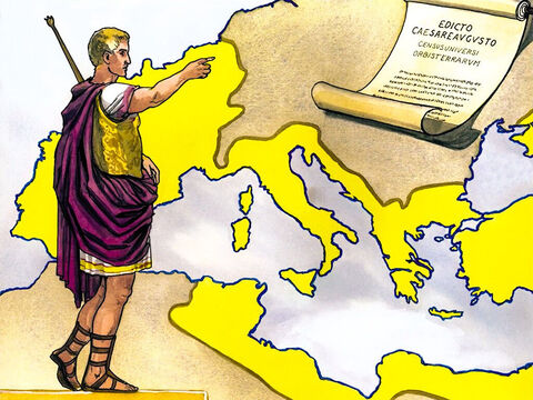 Now in those days a decree went out from Caesar Augustus to register all the empire for taxes. This was the first registration, taken when Quirinius was governor of Syria. – Slide 1