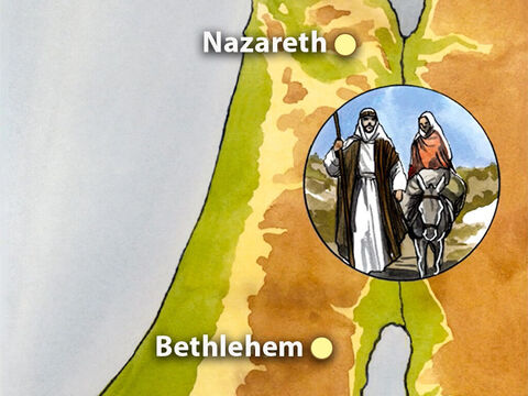 Everyone went to his own town to be registered. So Joseph also went up from the town of Nazareth in Galilee to Judea, to the city of David called Bethlehem, because he was of the house and family line of David. – Slide 2