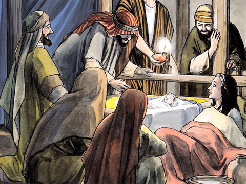 So they hurried off and located Mary and Joseph, and found the baby lying in a manger. When they saw Him, they related what they had been told about this child … – Slide 10