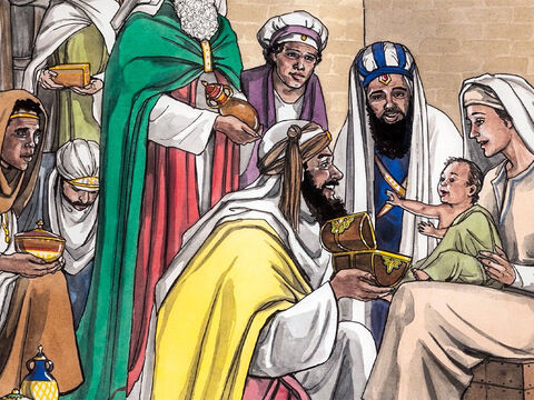 As they came into the house and saw the child with Mary His mother, they bowed down and worshiped Him. They opened their treasure boxes and gave Him gifts of gold, frankincense, and myrrh. – Slide 8