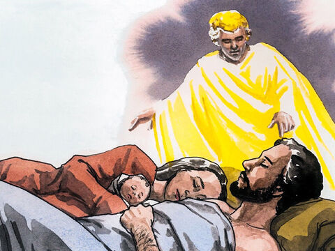 After the Wise Men had gone, an angel of the Lord appeared to Joseph in a dream and said, 'Get up, take the child and His mother and flee to Egypt, and stay there until I tell you, for Herod is going to look for the child to kill Him.' – Slide 1