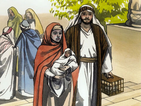 Now when the time came for their purification, according to the law of Moses, Joseph and Mary brought Jesus up to Jerusalem to present Him to the Lord (just as it is written in the law of the Lord, 'Every firstborn male will be set apart to the Lord') … – Slide 1