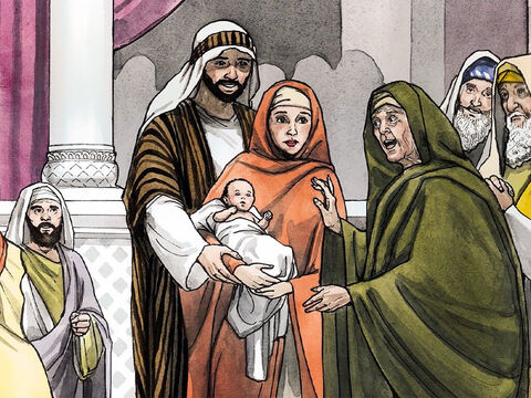 At that moment, she came up to them and began to give thanks to God and to speak about the child to all who were waiting for the redemption of Jerusalem. – Slide 11
