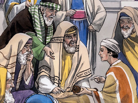 … sitting among the teachers, listening to them and asking them questions. And all who heard Jesus were astonished at His understanding and His answers. – Slide 8