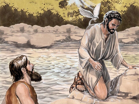 After Jesus was baptised, just as He was coming up out of the water, the heavens opened and He saw the Spirit of God descending like a dove and coming on Him. – Slide 5