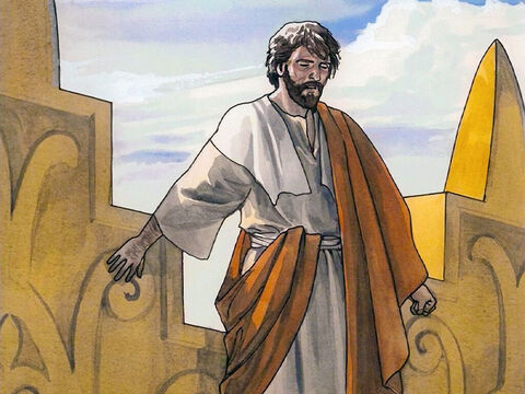 """Then the devil took Jesus to the holy city, had Him stand on the highest point of the temple, and said, 'If you are the Son of God, throw yourself down. For it is written, """"He will command His angels concerning you"""" and """"with their hands they will lift you up, so that you will not strike your foot against a stone.""""' – Slide 4"""