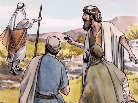 The day after John baptised Jesus, he was standing there with two of his disciples. Gazing at Jesus as He walked by, he said, 'Look, the Lamb of God!' – Slide 1
