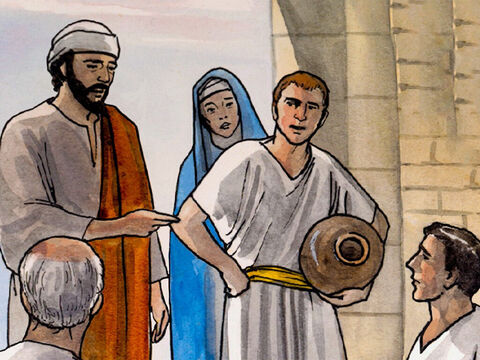 Now there were six stone water jars there for Jewish ceremonial washing, each holding twenty or thirty gallons. Jesus told the servants, 'Fill the water jars with water.' – Slide 6