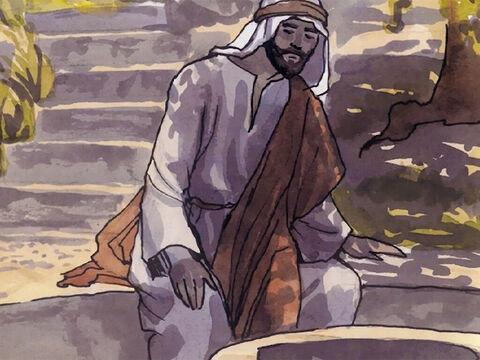 Jacob's well was there so Jesus, since He was tired from the journey, sat right down beside the well. It was about noon. – Slide 4