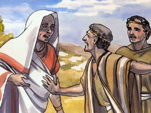 The man believed the word that Jesus spoke to him, and set off for home. While he was on his way down, his slaves met him and told him that his son was going to live. – Slide 8
