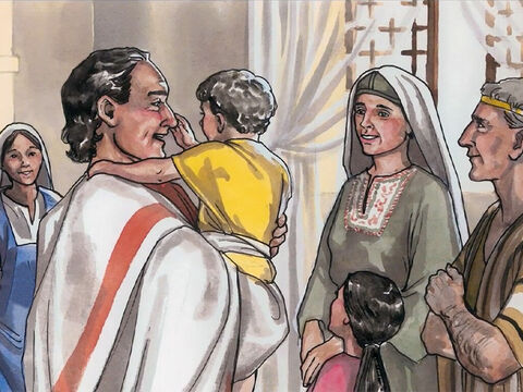 Then the father realised that it was the very time Jesus had said to him, 'Your son will live,' and he believed along with his entire household. – Slide 10