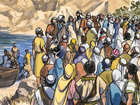 Now Jesus was standing by Lake Galilee, and the crowd was pressing around Him to hear the word of God. – Slide 1