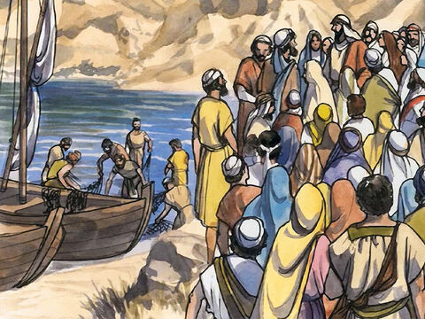 He saw two boats by the lake, but the fishermen had got out of them and were washing their nets. – Slide 2