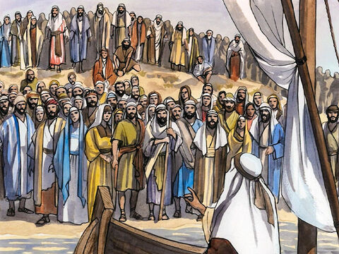Then Jesus sat down and taught the crowds from the boat. – Slide 4