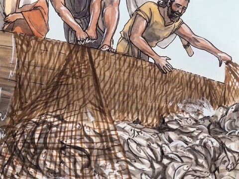 When they had done this, they caught so many fish that their nets started to tear. – Slide 7