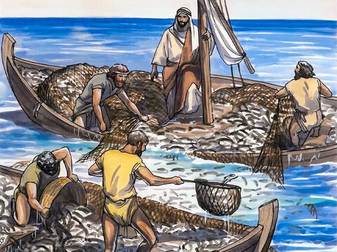 So they motioned to their partners in the other boat to come and help them. And they came and filled both boats, so that they were about to sink. – Slide 8