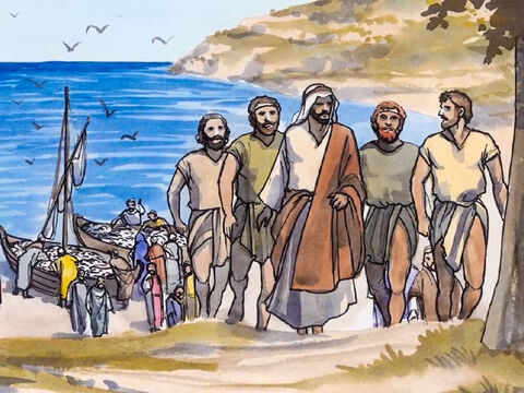 So when they had brought their boats to shore, they left everything and followed Jesus. – Slide 11