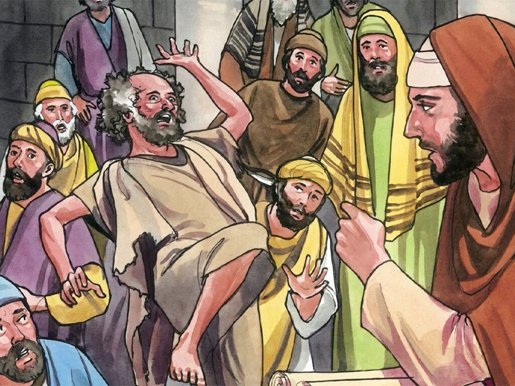 FreeBibleimages :: Jesus drives out an evil spirit :: Jesus confronts a man  shouting at him in the synagogue (Luke 4:31-37)