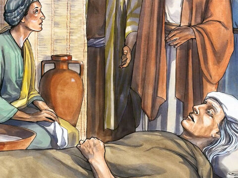 Now Simon's mother-in-law was suffering from a high fever, and they asked Jesus to help her. – Slide 2