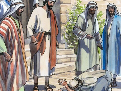 When he saw Jesus, he bowed down with his face to the ground and begged Him … – Slide 2