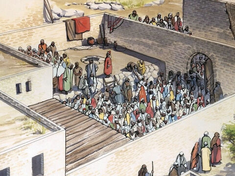 Lots of people wanted to hear Jesus, and a large crowd had gathered. – Slide 2