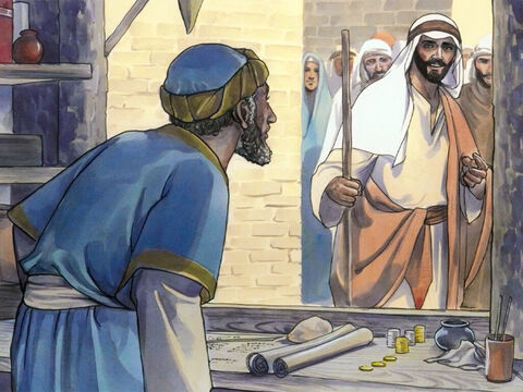 As Jesus went into Capernaum, he saw a man named Matthew sitting at the tax booth. – Slide 1
