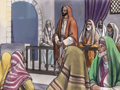 On another Sabbath, Jesus entered the synagogue and was teaching. – Slide 1